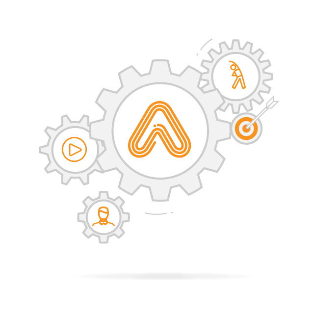Amaven logo surrounded by cogs