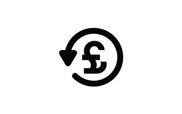 £ sign with a circle around it