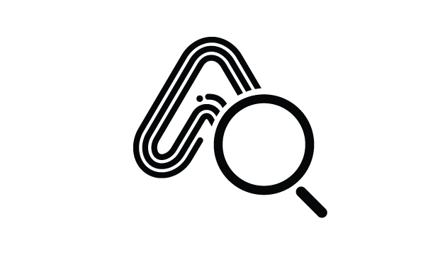 Amaven logo with a magnifying glass over it