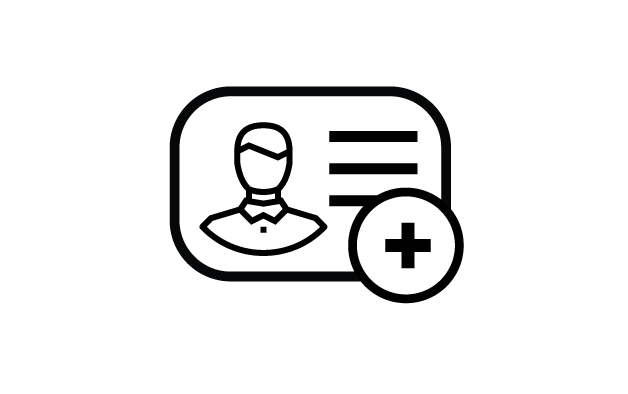 Drawing of a business card with a plus symbol in the bottom right corner