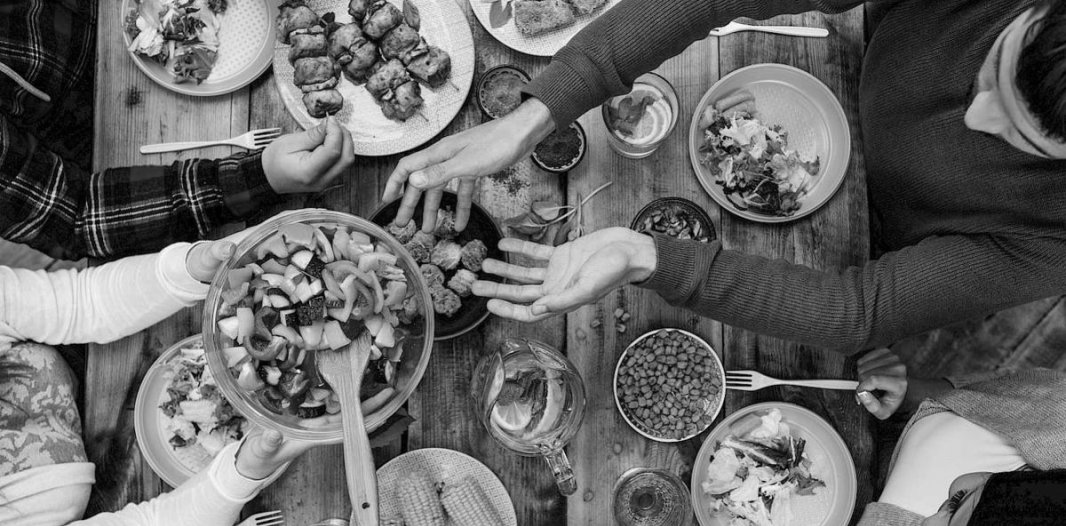 Dinner Table with Healthy Foods