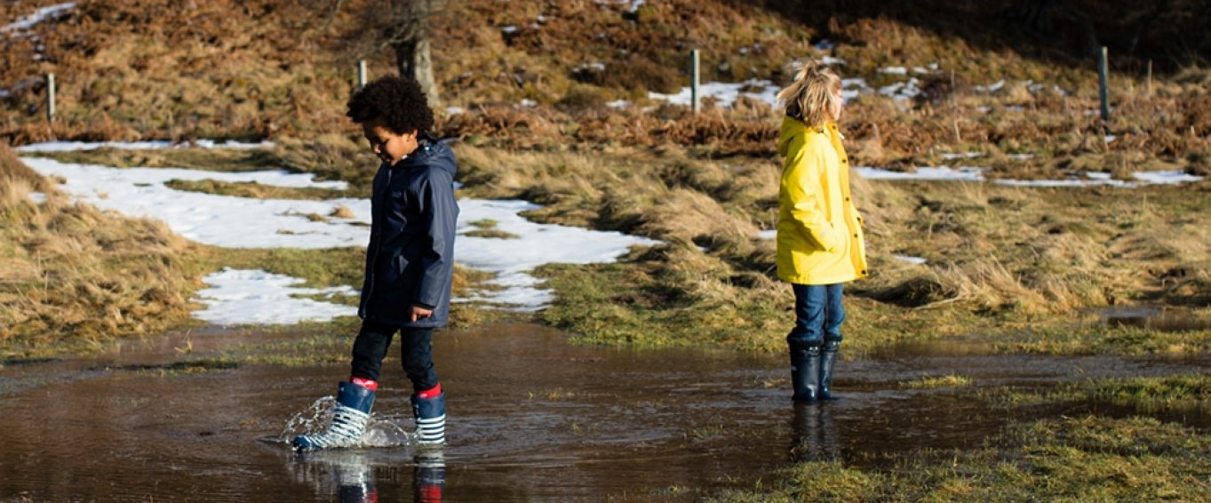 Two Children in Winter Clothes Splashing In a Stream