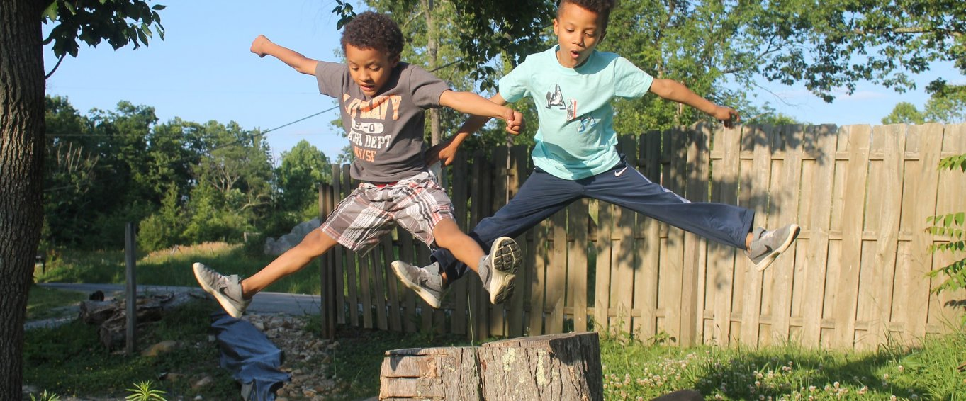 Two Young Boys Leaping Off a Tree Stump