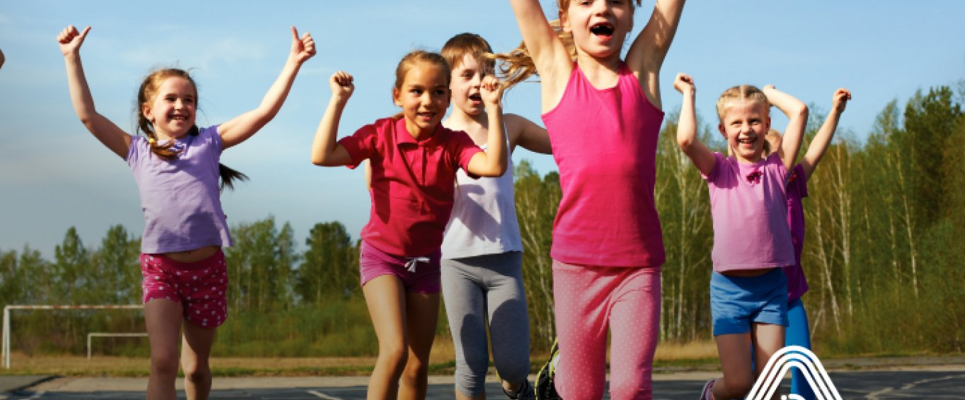 children running in school