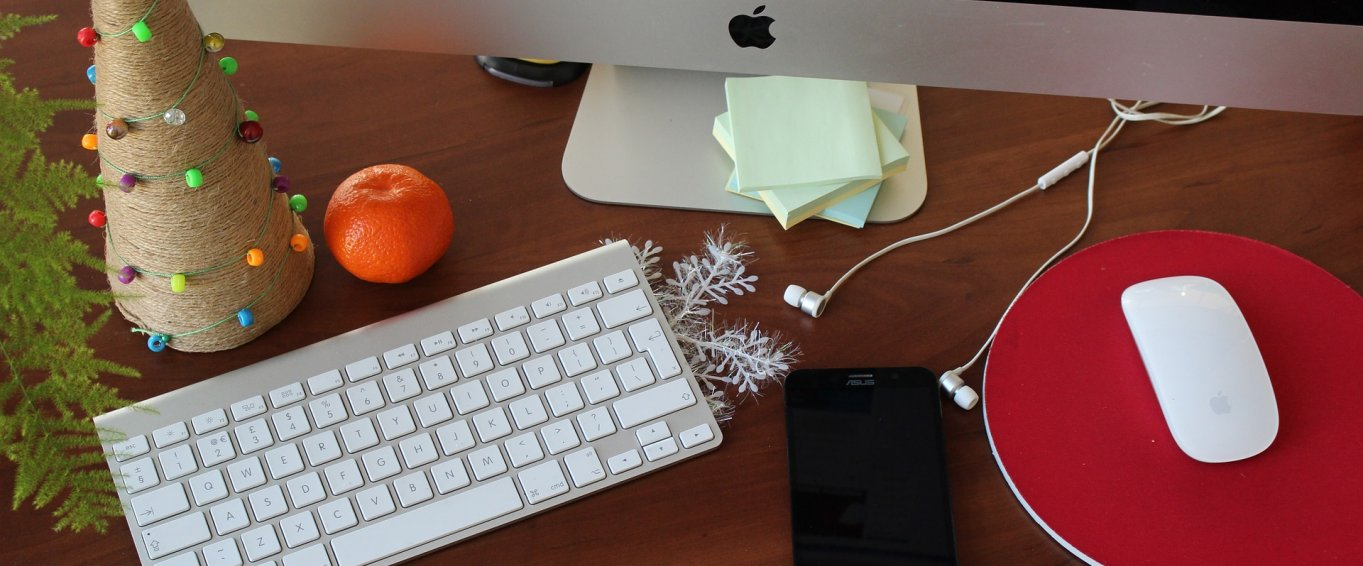 Office desk decorated for Christmas
