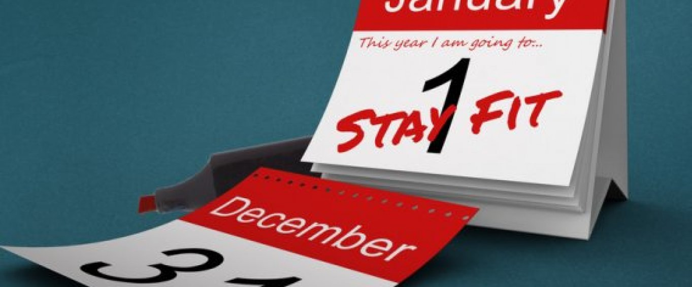 The words 'stay fit' on a calendar with 'January 1st' as the date