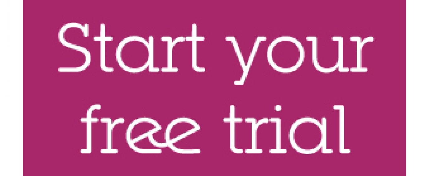 'Start your free trial' text with a purple background