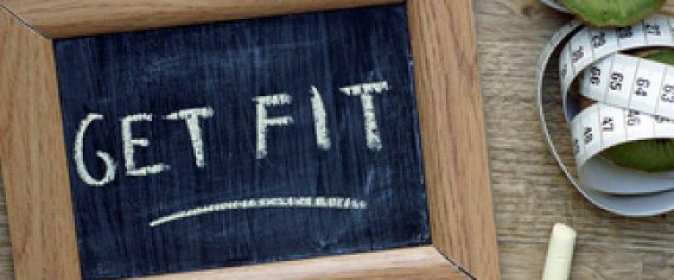 Get fit written on a chalkboard