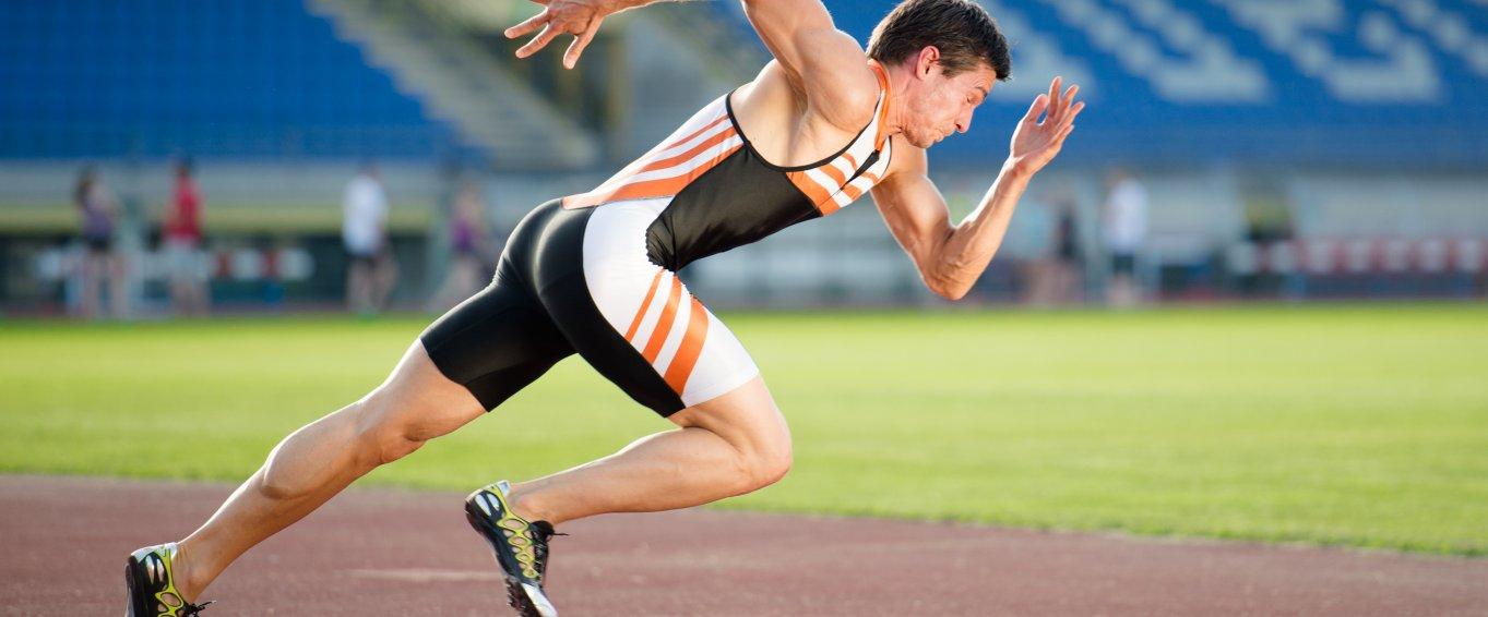 Man sprinting on a track