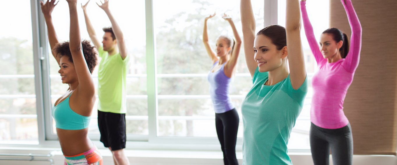 Women stretching at a zumba class