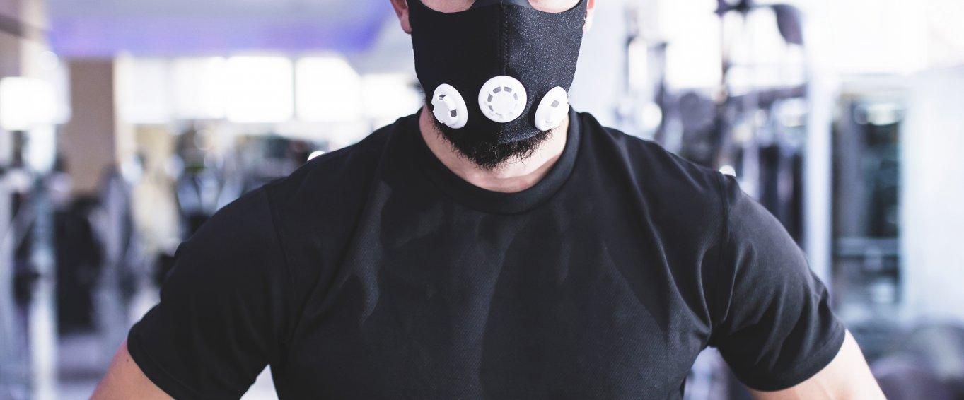 Man wearing high altitude mask