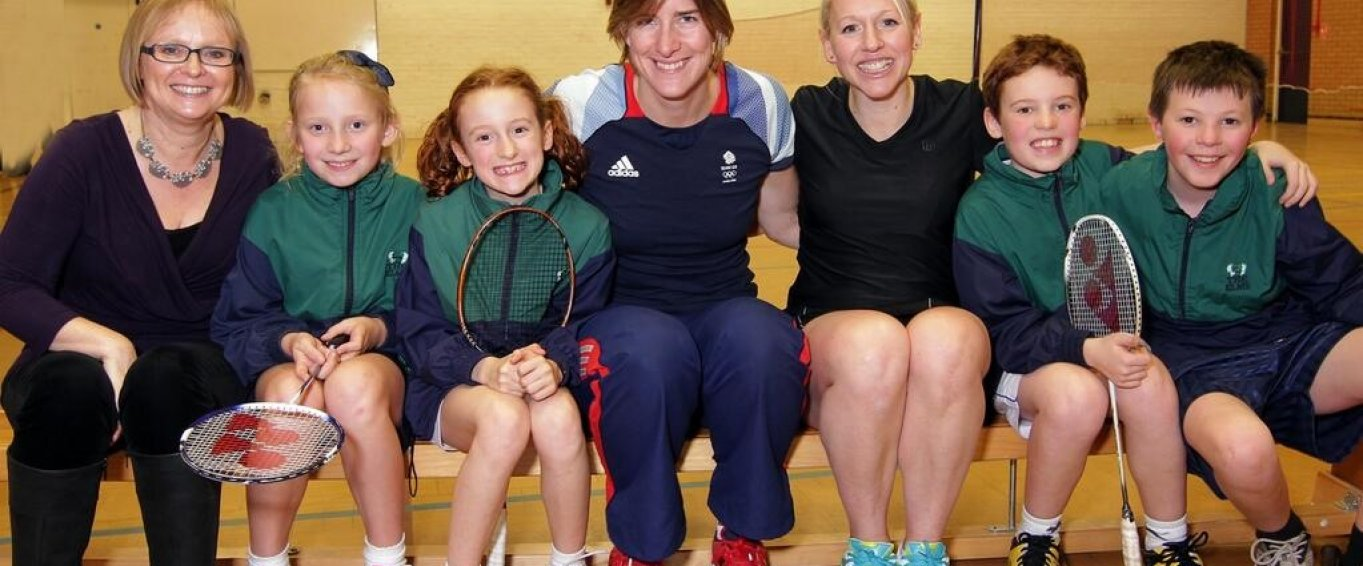 Katherine Grainger with Young Female Pupils in Sports Class