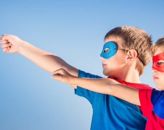 Two Children with Superhero Mask, Capes & Poses
