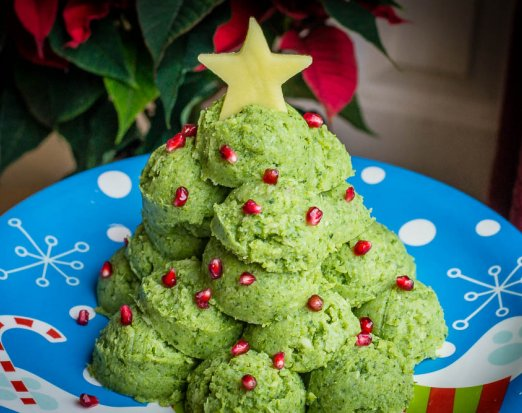 Edible Christmas Tree Made from Green Mashed Potatoes