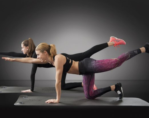 Two Women Doing a Bird Dog Exercise in Gym Clothes