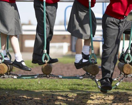 Four children in a playground