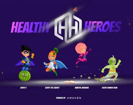 The Amaven Healthy Heroes: Kerry the Carrot, Richie Runner Bean, Super H, MIndful Miranda