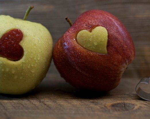 Two Apples with a Heart Shape
