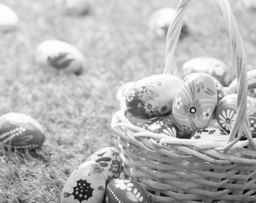 Wicker Basket Filled with Ornately Decorated Eggs