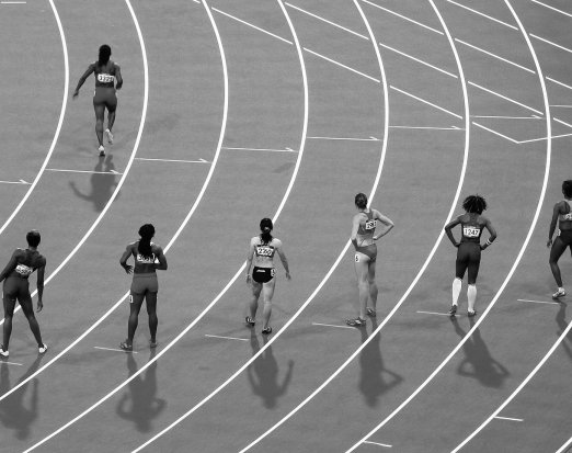 Women Athletes Preparing for a Race