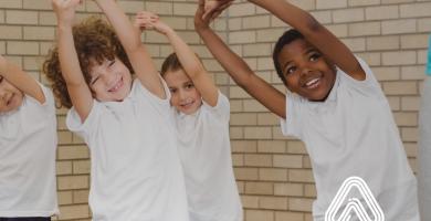 Kids stretching in PE